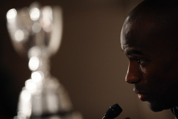 Winnipeg Blue Bombers slotback Milt Stegall speaks before a team breakfast with the Grey Cup Trophy in the background in Toronto