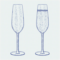 Champagne glass. Hand drawn sketch on notebook sheet background