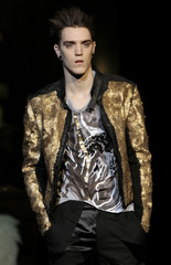 Model displays creation as part of Cavalli Fall/Winter 2009/10 men's collections during Milan Fashion Week