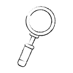 blurred silhouette magnifying glass with lens vector illustration