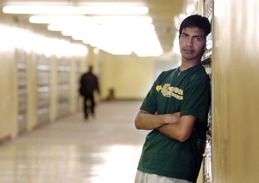 Jefferson High School student Preciado is pictured inside his school in Los Angeles