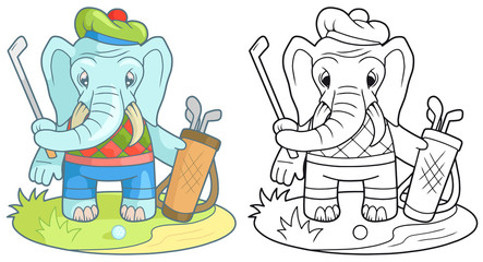 Cartoon funny elephant playing golf