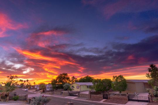 many beautiful colors Sunset in Yuma Arizona