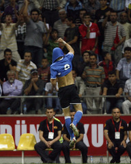 Voskoboinikov of Estonia celebrates after his team's goal against Turkey during their World Cup 2010 qualifying soccer match in Kayseri