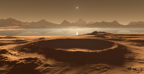 Titan, largest moon of Saturn with dense atmosphere. Hydrocarbon lakes and seas of Saturn moon Titan. 3D illustration