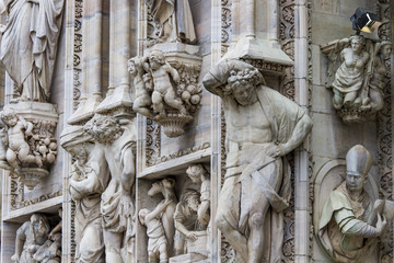 Detail on Milan Cathedral, Italy