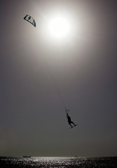 Aaron Hadlow from United Kingdom flies during Kiteboarding World Cup final.