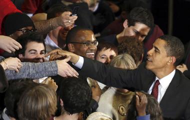 U.S. Democratic presidential candidate Senator Barack Obama (D-IL) greets supporters in Waukesha