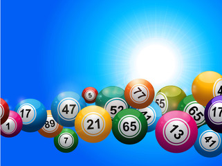 Bingo balls floating over blue sunny sky
