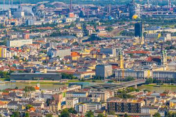 Aerial view of the Austrian city Linz.