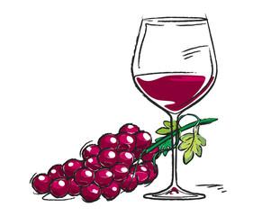 Rote Weintrauben mit Weinglas, dekorativ