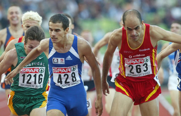 FRENCH ATHLETE BAALA AND SPANISH ESTEVEZ RUNS THE MEN'S 1500 M FINALRACE AT EUROPEAN ATHLETICS ...
