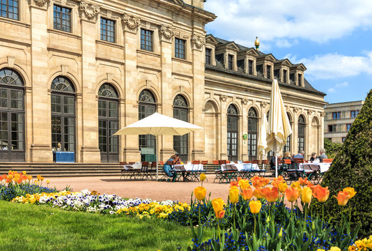 Orangerie terrace of Castle Garden in historical Fulda, Germany