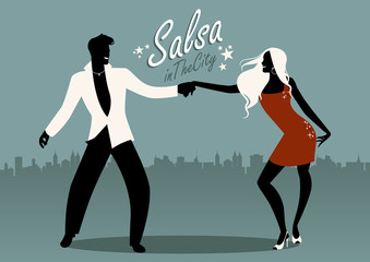 Salsa in the City. Silhouettes of young couple dancing latin music: salsa, merengue, bachata...