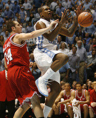 UNC's Thompson drives to the basket during the first half of their NCAA basketball game against North Carolina State University in Chapel Hill