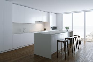 3d render white luxury  kitchen in white room in big villa