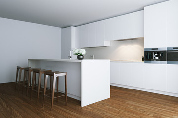 3d render white contemporary kitchen in big house