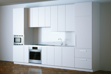 3d render white contemporary kitchen in interior perspective