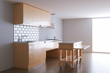 3d render beige kitchen in white interior