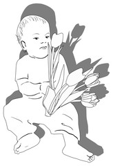 baby holding tulips sketch isolated on white