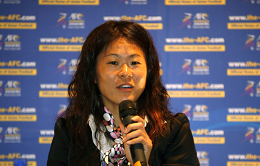 Nominee for AFC Women's Player of the Year 2008, Japan's Sawa, speaks during news conference in Kuala Lumpur