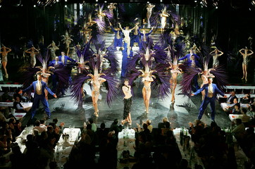 -PHOTO TAKEN 17JAN05- Dancers perform the new revue 'Bonheur' (Happiness) at the Lido, France's most..