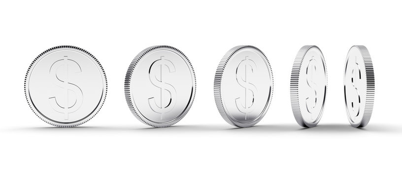 Silver coin with dollar sign in different angles isolated on white. 3D illustration
