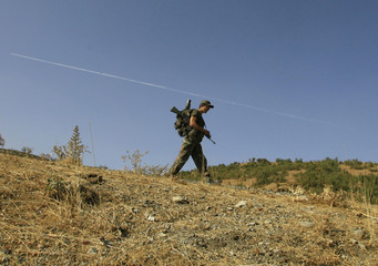 A Turkish soldier patrols in the southeastern Turkish province of Sirnak