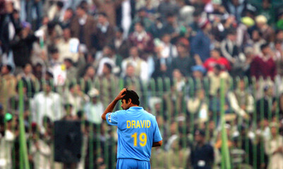 India's captain Dravid reacts during one-day international in Peshawar