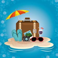 Umbrella, suitcase, cocktail, sunglasses, camera, picture and flip flops on sand over blue background. Vector illustration.