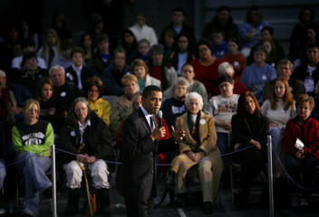 Democratic presidential candidate Senator Obama speaks to supporters during a campaign rally stop at Monticello