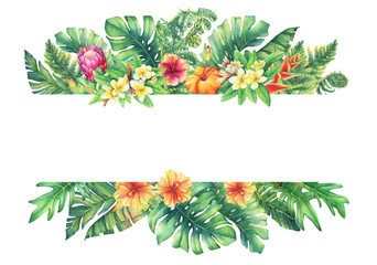 Banner  with branches purple Protea flowers, plumeria, hibiscus and tropical plants. Hand drawn watercolor painting on white background.