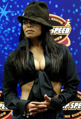 JANET JACKSON POSES DURING SUPER BOWL HALFTIME NEWS CONFERENCE IN HOUSTON.