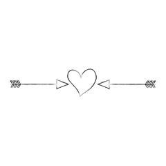 heart love with arrows romantic icon vector illustration design