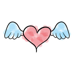 heart love with wings romantic icon vector illustration design