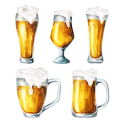 Beer glasses. Waterсolor