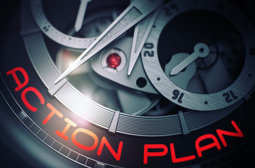 Automatic Watch with Action Plan Inscription on Face. Gears and Mainspring in the Mechanism of a Wristwatch with Action Plan on Face of It. Business Concept with Glowing Light Effect. 3D Rendering.