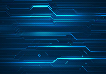 Digital concept illustration with circuit microchip on blue background.