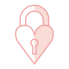 heart love with key hole vector illustration design