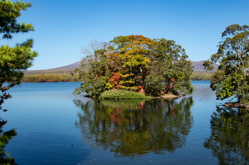Idyllic Autumn Leaves Season in Onuma Quasi National Park, Hokkaido, Japan