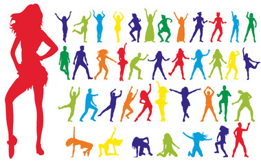 collection of dancing people, colorful
