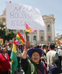 Supporter of Bolivian President Carlos Mesa with placard supporting him in front of the ...