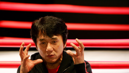 Hong Kong movie star Jackie Chan speaks during a news conference in Hong Kong.