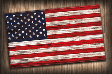 United States Flag on Wood