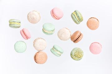 Papiers peints Macarons Macarons cake, top view flat lay, fly falling pattern macaroon