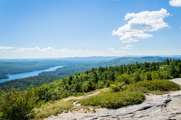 Idyllic view of Lake Winnipesaukee, Mount Major in Maine, USA