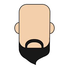 colorful caricature image faceless front view bald man with beard vector illustration