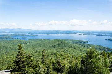Idyllic view of Lake Winnipesaukee, Mount Major in Maine, USA