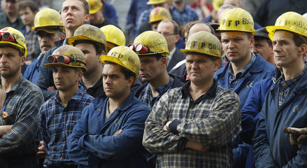 Shipyard workers from Stocznia Gdynia SA protest in front of company board biulding in Gdynia
