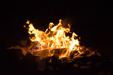 Campfire, flames, fireplace - Stock image